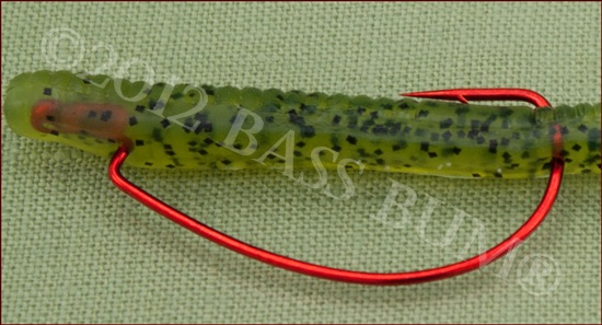 Texas Rig - Push Hook Point Through the Worm Making Sure It Is Centered and Straight