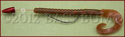 Texas Rig - Berkley 7 inch Power Worm Motor Oil/Red Fleck