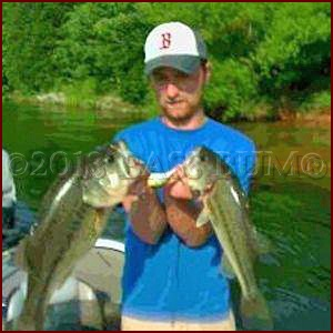 Two Largemouth Bass, 5.23lb and 3.46lb